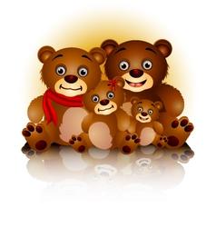 happy bear family in harmony and love vector image