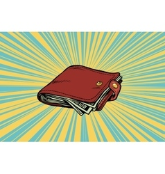 Leather wallet with cash vector image vector image