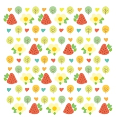 Sweet summer pattern with green trees red vector image vector image