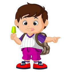 cute boy holding ice cream cartoon vector image