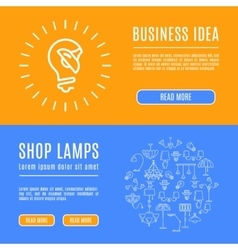 Design template banner shop lamps Line art icons vector image vector image