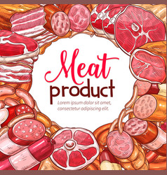 meat product and sausage sketch poster vector image vector image