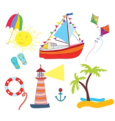 Sea icons set funny vector image