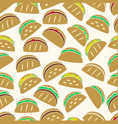 set of color tortilla tacos food icons seamless vector image vector image