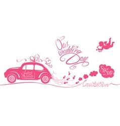 wedding car invitation 380 vector image vector image