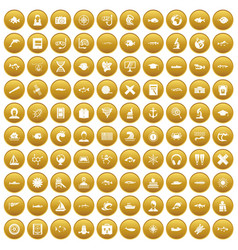 100 oceanologist icons set gold vector