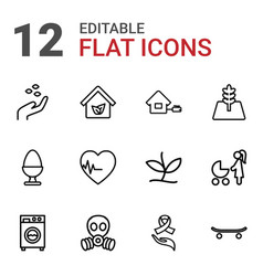 12 life icons vector