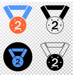 2nd place medal eps icon with contour vector