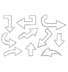 Arrows black and white hand drawn sketch vector