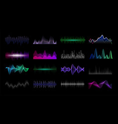 audio frequency sound waveform hud interface vector image