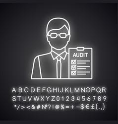 Auditor neon light icon vector