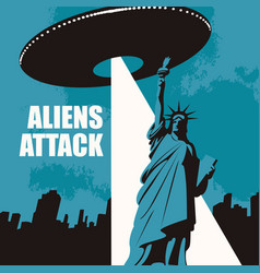 Banner on theme aliens attack in usa vector