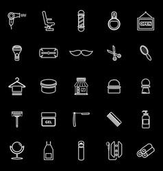 barber line icons on black background vector image
