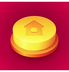Big realistic yellow home button with shadow vector image vector image
