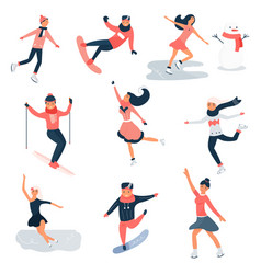big set young people doing winter sports vector image