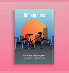 bike and bicycle sport in city time traveling and vector image
