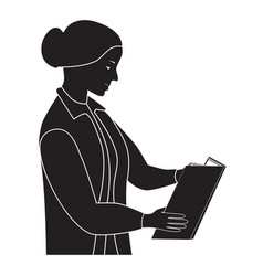 Black silhouette of the woman reading the book vector