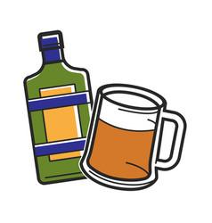 Bottle liquor and beer glass vector