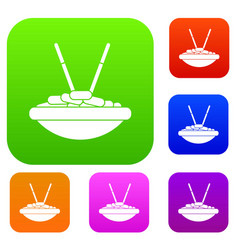 Bowl of rice with chopsticks set collection vector