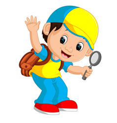 Boy holding magnifying glass cartoon vector