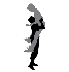 boyfriend lifting his girlfriend up vector image