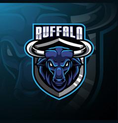 Buffalo head mascot logo design vector