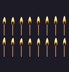Burning match animation sprite on dark background vector