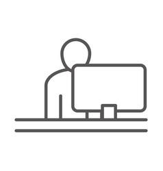 Businessman using laptop business work office vector