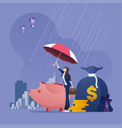 businesswoman with umbrella protecting money vector image