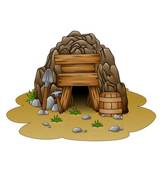 Cartoon cave entrance vector