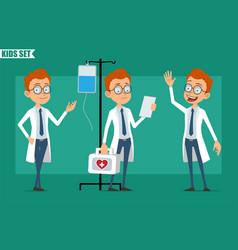 cartoon little doctor boy character set vector image