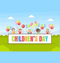 Childrens day banner template happy kids having vector