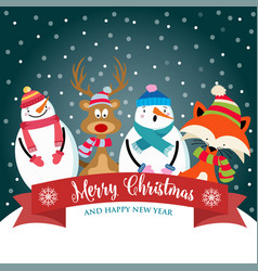 christmas card with cute dressed animals snowman vector image