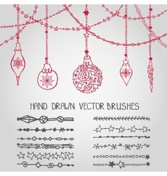 Christmas garland brushesballs vector