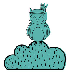 Color ethnic owl animal in bursh with flowers vector