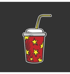 Colored soda fountain drink doodle drawing vector
