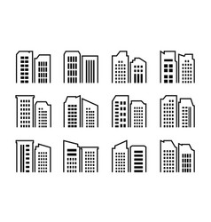 Company icons set buildings and bank collection vector