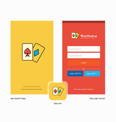 Company poker splash screen and login page design vector