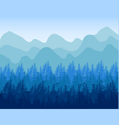 Coniferous forest and mountains travel vector