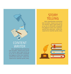 Content writer and story telling papers and vector