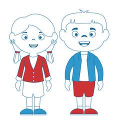Couple of children characters vector