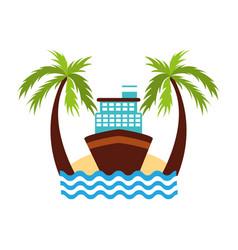 Cruise boat on beach vector