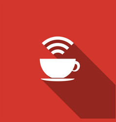 Cup of coffee shop with free wifi zone sign icon vector
