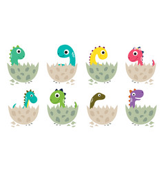 Cute cartoon dinosaurs collection vector