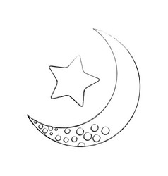 Cute moon with star vector