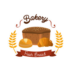Delicious fresh differents types of breads vector