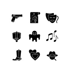 Different movie styles and genres black glyph vector