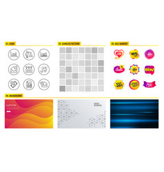 Documentation musical note and algorithm icons vector