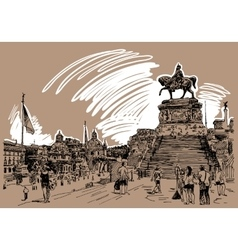 Drawing of piazza venezia in rome - altar of the vector