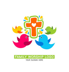Family worship logo family glorifies god vector